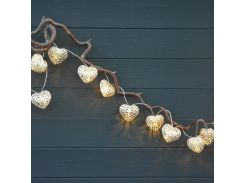 20 Metal Heart Battery Operated LED Fairy Lights String 3.3M for Wedding Party Christmas Holiday Decoration Tree Indoor Use.