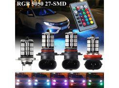 2x 9005/9006/H11/H7 Car Headlight Fog/Driving Light Car Lighting Bulb-5050 RGBW LED 27SMD with 24 keys Remote Control