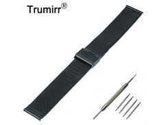 22mm Milanese Watchband for LG G Watch W100 / R W110 / Urbane W150 Mesh Stainless Steel Band Metal Bracelet Strap with Tool