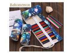 36/48/72 Hole Galaxy of the universe painting Pencil Case Stationery Canvas Pen Roll Up Bag Art Curtain Color Pencils Storage