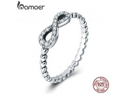 BAMOER Romantic 925 Sterling Silver Infinity Love Forever Heart Clear CZ Finger Ring for Women Sterling Silver Jewelry SCR414