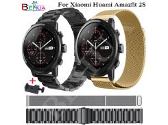 22mm metal stainless strap for xiaomi huami amazfit pace stratos 2/2s watch bracelet band milanese loop magnetic strap wristband