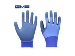 New Design GMG Blue Polyester Shell Grey Latex Sandy Coating Work Safety Gloves Works Gloves For Work