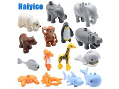 Education Large building blocks Bricks accessories Ocean animals zoo compatible Duplos octopus Giraffe whale fish children Toys