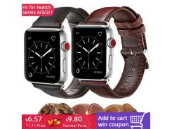 New Genuine Leather strap for Apple Watch Band 42mm 38mm Wristband with Retro Crazy Horse Texture for iWatch All Version Brown