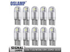 Oslamp 10pcs T10 W5W 194 Car Light Bulb Led Turn Signal Light White 12v Signal Lamp Clearance Light Reading Dashboard Door Light