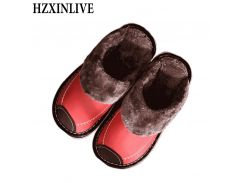 HZXINLIVE 2018 Women Indoor Slippers PU Sewing Slip-on Home Slipper Solid Winter Short Plush House Women Casual Shoes Red Orange