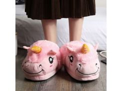 Women unicorn slippers 2018 fashion Appliques house slippers for girls plush lovely cheap fur slippers bedroom