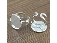 5pcs Fit 20mm Round Glass Cabochon New Design Shiny Silver Plated Copper Material Adjustable Ring Settings Blank/Base