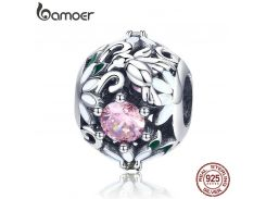 BAMOER Genuine 925 Sterling Silver Flower Bushes Pink CZ Beads Charms fit Women Bracelets Bangles DIY Jewelry Making SCC939