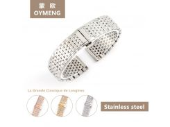 Ultra-thin steel strip High quality Men/Women Stainless Stell Watch Strap With Deployment Button 13mm 18mm