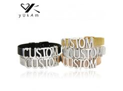 YUKAM Jewelry Personalized Custom Name Slide Charms Bracelets Stainless Steel Mesh Keeper Bracelets Bangles for Women Collection