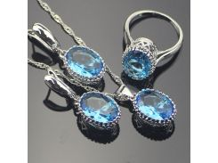 Oval Blue Cubic Zirconia Women 925 Sterling Silver Jewelry Sets Silver Wedding Earrings Pendant Necklace Ring Set Gift Box