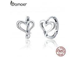 BAMOER Classic Genuine 925 Sterling Silver Romantic Heart Love Shape Hoop Earrings for Women Fashion Earrings Jewelry SCE447