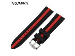 24mm Silicon Rubber Watchband + Tool for Suunto TRAVERSE Watch Band Wrist Strap Stainless Steel Buckle Belt Bracelet Black Red