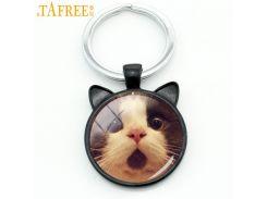 TAFREE Fashion Cats Men Keychain Funny Surprised Cat Animal Key Chain Ring Holder Cute Grumpy Cat Glass Cabochon Jewelry CN801