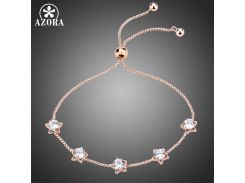 AZORA Five Star Clear Cubic Zirconia Slide Adjustable Chain Bracelets Women Fashion Rose Gold Color Jewelry Gifts TS0191