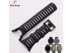 Plus Strap Silver & Black Buckle Silicone  suunto Watch Strap Watchband for Ambit 1 2 3Replacement suunto watch band Waterproof