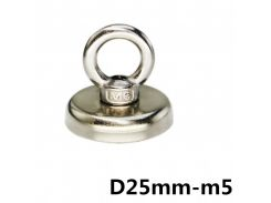 D25mm strong powerful round neodymium Magnet hook salvage Fishing magnet sea equipments Holder Pulling Mounting Pot with ring