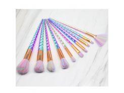 New 10pcs Unicorn Makeup Brushes Set Colorful Electroplate Foundation Blending Face Power Eye Beauty Cosmetic Makeup Tool Kits