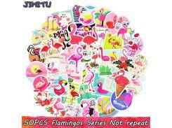 50 PCS Flamingos Sticker Cute Anime Dream Creative Decal Stickers for Children DIY Laptop Suitcase Bike Luggage Guitar Stickers