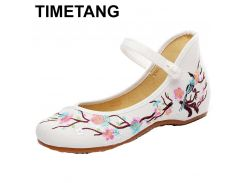 TIMETANG  Women Flats Plum Flower Embroidery Canvas Mary Janes Shoes Ladies Soft Sole Ballerina Shoes Woman Casual Zapatos Mujer