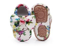 Fashion Floral printing hard sole toddler moccasins first walker shoes PU leather cute bow baby girls shoes infant walk shoes