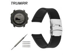 24mm Silicone Rubber Watchband for Suunto TRAVERSE Watch Band Stainless Steel Safety Clasp Strap Mesh Resin Wrist Bracelet Black