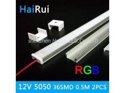 2pcs 50cm5050 SMD RGB color 12V  led strip rigid light hard bar Aluminum case RGB ceiling Kitchen led lights factory industrial
