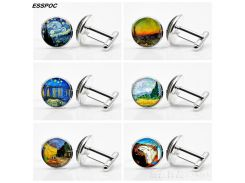 Van Gogh Art Painting Cufflinks Unisex Glass Cabochon Silver Plated Cuff Links Men Fashion Accessories Valentines Wearable Art