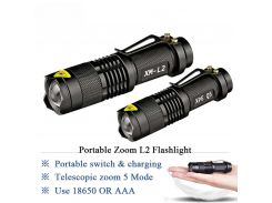 Zoom mini cree xm-l2 Flashlight Led Torch 5 mode 3800 Lumens waterproof 18650 Rechargeable battery Tactical flash light