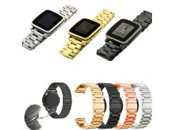 22mm Stainless Steel Switch  Buckle Watch Band For Pebble Time Pebble Time Steel 2015 22MM Three beads steel strap for Pebble