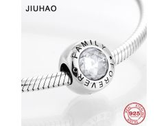 Fashion trend 925 Sterling Silver clear CZ Forever family fine beads Fit Original Pandora Charm Bracelet Jewelry making