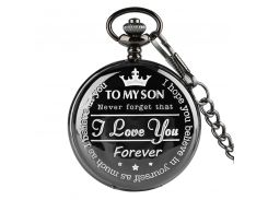 Popular Customized TO MY SON Never Forget I Love You Forever Design Quartz Pocket Watch Chain Birthday Souvenir Gift for Man Boy
