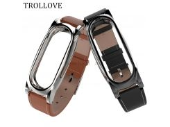 TROLLOVE Leather Strap For Xiaomi Mi Band 2 Smart Watch Bracelet mi band 2 Strap Miband 2 Strap Metal Case Cover+Leather Wrist