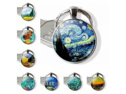 Van Gogh Art Oil Keychain Men Women Fashion Silver Glass Convex Keyring Starry Night Jewelry Sunflower Fashion Pendant Gift