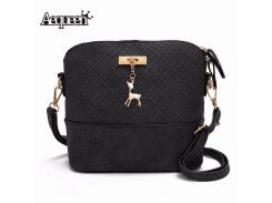 AEQUEEN Women Handbags Female Black Shell Shoulder Bag Small PU Leather Messenger Bags With Deer Ladies Purses Bolsa Feminina