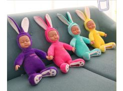 26CM Rabbit Plush Stuffed Baby  Doll Simulated Babies Sleeping Dolls Children Toys Birthday Gift For Babies doll reborn
