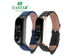 Eastar Leather Strap Rose Gold Black Case For Xiaomi Mi Band 3 Smart Band Accessories For Xiaomi Miband 3 Smart Wristband Strap