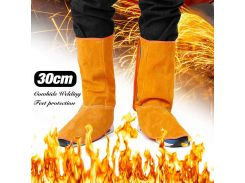 1 Pair of Yellow 30cm Cowhide Leather Welding Feet Protection Sleeve Safety Work Spark Resistant Protection