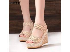 2019 Summer Women Wedge Sandals Peep Toe Pumps Fretwork Female Hook & Loop Ankle Starp Fashion Platform High Heel Shoes Ladies