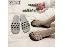 XCZJ Women's slippers casual black and white shoes non-slip slippers bathroom summer sandals soft bottom slippers ladies