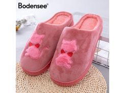 Bodensee Cute Cat Indoor Women Cotton Slippers Ladies Winter Big Size Home Slipper Plush Women Indoor Shoes