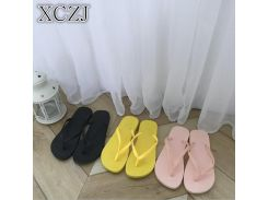 XCZJ Flip-flop female summer Korean student fashion wild wear flat cute cartoon flip-flop sandals and slippers beach shoes