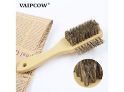 VAIPCOW 1Pcs 3 side cleaning brush/hog bristle brush suitable for cleaning suede Nubuck boot shoes S shape shoe