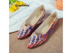 Cresfimix Women Cute Light Weight Pattern Slip on Flat Shoes Lady Casual Sweet Shoes Slip on Shoes Vrouwen Platte Schoenen C3499