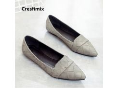 Cresfimix Zapatos Planos De Mujer Women Cute Grey Plaid Pu Leather Flat Shoes Lady Casual Shoes Black Office Flat Shoes C3496