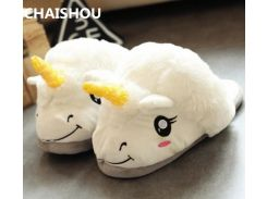 CHAISHOU winter Hot cartoon unicorn cotton slippers unisex croissant plush toy home slippers Only one size 35-42 B-53