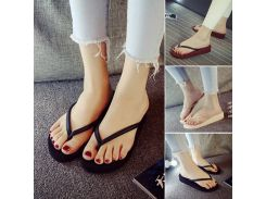 2018 Hot Fashion Trifle Flip Flops Women Wedges Platform Simple Casual Solid Summer Style Sandals Beach Shoes