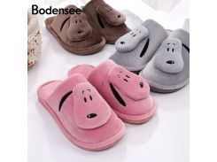 Bodensee Women Cotton Slippers Ladies Winter Cute Dog Indoor Home Slipper Plush Women  Indoor Shoes S0009